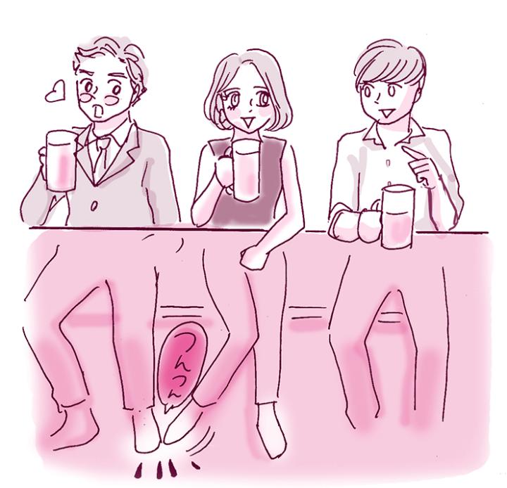 テーブル下で足をわざとちょんと当てると惚れられる